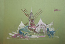 Vintage Theatre Stage Design Gouache Painting Windmill
