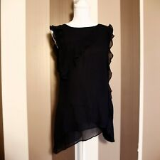 Mint Velvet Black Sleeveless Ruffle Top Blouse Size 8 See Trough Occasion