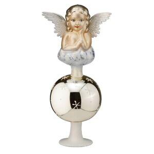 Christbaumspitze Glas mit Engelfigur Tannenbaumspitze Weihnachtsbaumspitze Motiv
