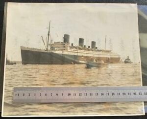 "CUNARD WHITE STAR LINE RMS QUEEN MARY 10"" X 9"" AFTER WINING BLUE RIBBON PHOTO"