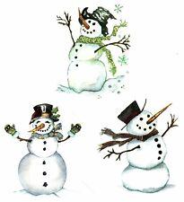 "Happy Snowman 6 pcs 1-1/2"" X 1-1/4"" Waterslide Ceramic Decals Ox"