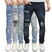 Eto Men's Designer Shredded Ripped Slim Fit Stretch Distressed Jeans, BNWT