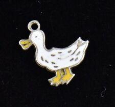 Vintage White Pekin Duck Enamel Sterling Silver Charm 925 Yellow Goose Pendant