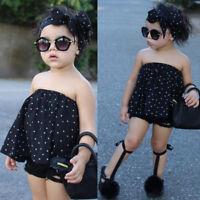 3PCS Children Kid Girl Off Shoulder Tops+Denim Shorts Pants+Headband Outfit AU