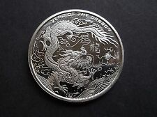 2012 THE YEAR OF THE DRAGON, ONE TROY OUNCE .999 FINE SILVER,  AA-316