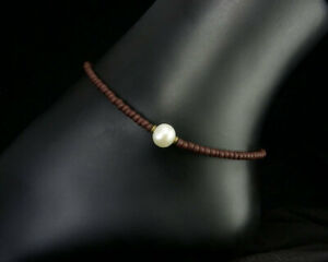 Pearl Anklet with Charcoal Brown Seed Beads - Small - Plus Size