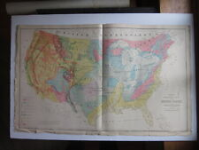 """1879 Geological Grays Hitchcock Dartmouth Philly 2pg 27"""" x 16"""" color map US FAIR"""