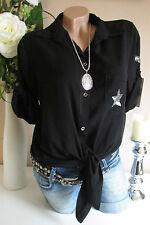 camicia camicetta stile camicetta per nodo paillettes Patch OVERSIZE NERO 36-40