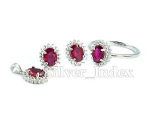 925 Solid Silver 7X5 mm Natural Ruby Gemstone Ring Earring Pendant Jewelry Set
