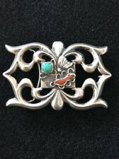 & Coral Belt Buckle 68g. Navajo Old Pawn Sandcast Sterling, Turquoise,