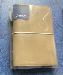 Filofax Domino Soft Personal Leather Look Organiser Fawn In Wrap Around Elastic