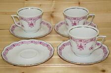 """Vohenstrauss Johann Seltmann Pink (3) Cups, 2 5/8"""" & (4) Saucers, 5 5/8"""""""