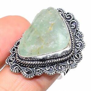 Aquamarine Gemstone Handmade 925 Sterling Silver Jewelry Ring Size 8