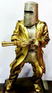 Ned Kelly Statue / Figurine Metallic Bronze & Silver 12cm Tall on Wooden Base