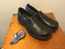 EASYWORKS by Easy Street Black Clogs W/ Side Zip Slip Resistant Women's 11 Wide