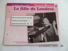 CARTE FICHE PLAISIR DE CHANTER GERMAINE MONTERO LA FILLE DE LONDRES
