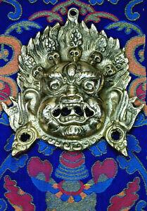 MAHAKALA WRATHFUL DHARMA PROTECTOR TIBETAN BUDDHIST HEAVY BRASS MASK NEPAL