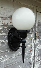 Antique Cast Iron Front Porch Light 1920's Clipper Tool Co. w/ Milk Glass Globe