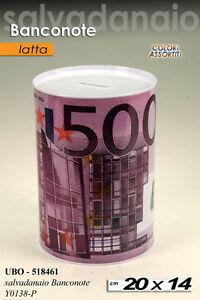 SALVADANAIO SOLDI EURO BANCONOTE 20 CM LATTA MONETE ASSORTITI UBO 518461