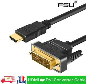 Cable HDMI Mâle vers DVI-D 24+1 Pin Mâle pour PC Projecteur TV PS 4/3 plaqué or