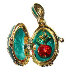 Pomme d'amour Pendentif Oeuf style Faberge Pendentif vert forme oeuf Pomme amour