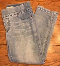 0 (Size 4) Chico's Platinum Denim Crop Jeans Elastic Waist Regular Cotton Blend
