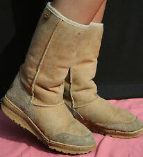 Sheepskin UGG BOOTS Beige Suede Leather Ladies-UK7 Mens-UK6 Split W0RN AUSTRALIA