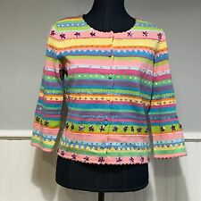 Michael Simon Sweater Cardigan Easter Spring Pink Sequins Striped Flowers Sz S