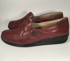 Propét Red Leather Loafers Slip-On Shoes Women's EU 41 US Size 10
