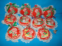Vintage Strawberry Shortcake Cloth Christmas Ornaments Lot of 11