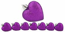 8 x 60mm Purple Glitter Heart Shaped Christmas Tree Baubles (BA24)