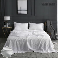 Simple&Opulence 100% Stone Washed Linen 4 Piece Embroidered Solid Sheet Set