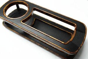 1Pcs Wood Grain Brim Black Rectangle Car Cup Holder Beverage Bottle Drink Holder