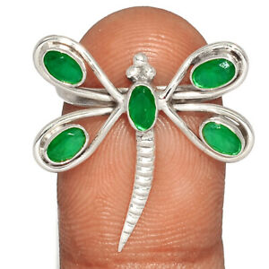 Dragonfly - Emerald, India 925 Sterling Silver Ring Jewelry s.8 BR81580