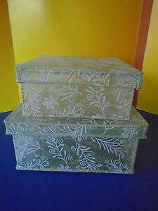 BOXES, 2 NESTING, GREEN SHEAR FABRIC, WITH METAL FRAMING, WHITE FLORAL PATTERN