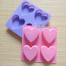 Silicone Pudding Soap Mold Pan Chocolate Jelly Candy Mold 4-Cavity Heart Shaped