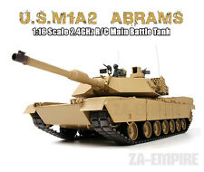 1:16 US M1A2 Abrams RC Tank With Smoke & Sound Airsoft 2.4GHz Remote Control New