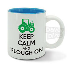 KEEP Calm and PLOUGH ON, farmer, farming, green tractor mug, cup, birthday gift
