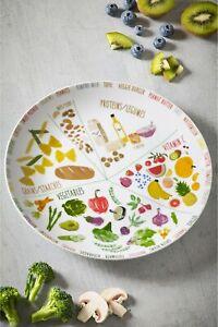 NEXT Porcelain large 27 cm Portion Control Plate Veggie Vegan healthy eating NEW