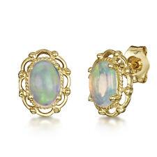 9ct Yellow Gold Opal Stud Earrings