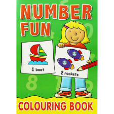 Number  Fun Colouring Book - green cover