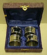 More details for vintage boxed set of 4 silver plated napkin rings (sp1)