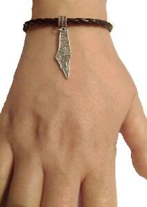 Unique Palestine Map Silver pendant handmade fancy black leather bracelet