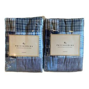 2 PB Teen Montauk Madras plaid patchwork Pillowcases Shams 20x26 Pottery Barn