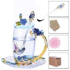 350ML Enamel Glass Coffee Tea Cup Spoon Cover Saucer Mug Wedding Gift Rose B