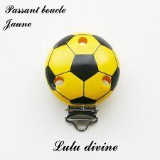 Pince / Clip en bois, attache tétine, passant boucle, Ballon de foot : Jaune