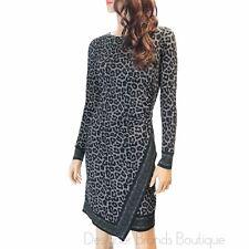 MICHAEL KORS Black Leopard Print Faux-Wrap Jersey Long Sleeve Sheath Dress