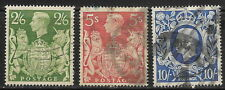 Great Britain, used, King George VI , #249a, #250, #251a, Issued 1939-1942