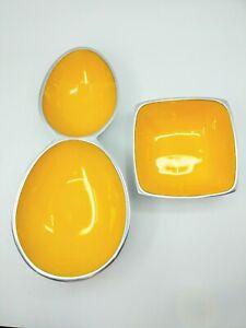 Vintage Yellow Enamel Polished Aluminum India Set 2 Barware Bowls Nut Chip Candy
