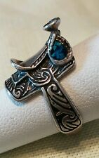 Sterling Silver Equestrian/Saddle Ring SIze 5.5 with Turquoise Inlay